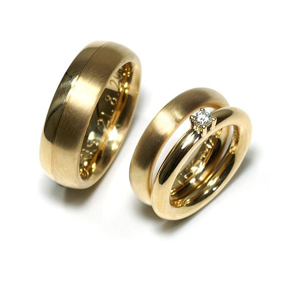 Verlobungsring mit Ehering Gelbgold Diamant (1005662)