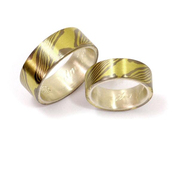 Eheringe Mokumegane Palladium Grüngold Silber (1007153)