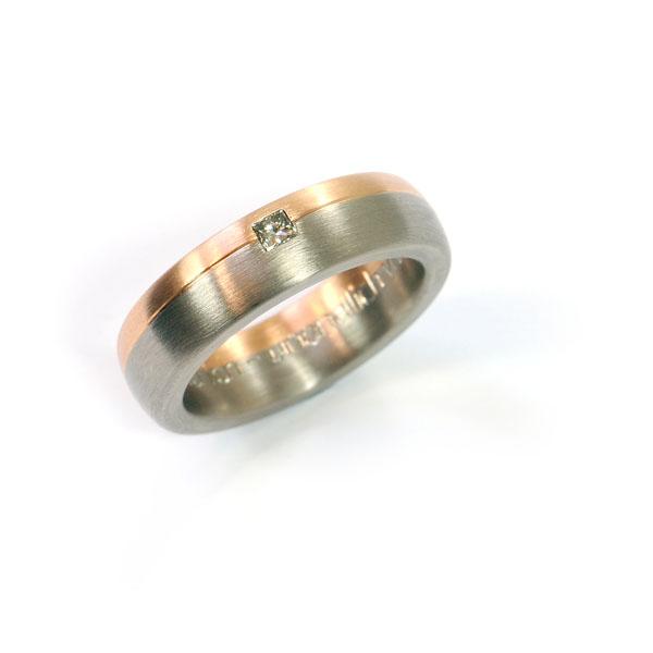 Verlobungsring Weissgold Rotgold Diamant Princess (1007538)