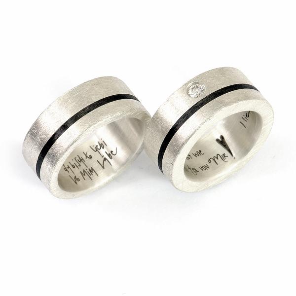 Partnerringe Silber Carbon (1007678)