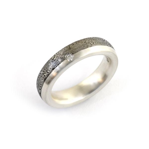 Verlobungsring Silber Damaszenerstahl Brillant (1007688)