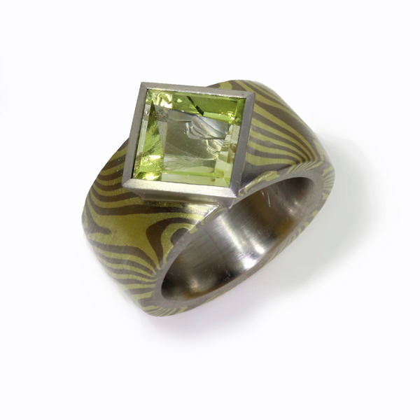 Ring Mokumegane Grüngold Palladium Beryll (250044)