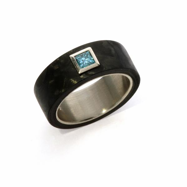Verlobungsring Carbon Weissgold Diamant blau (250073)