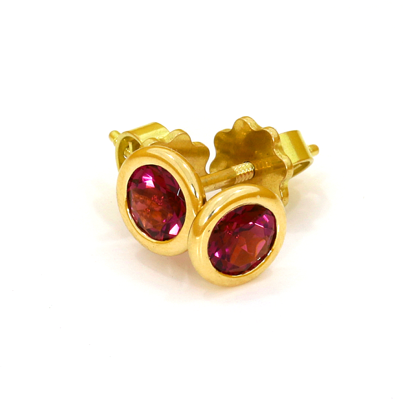 Ohrstecker in Gelbgold 750 mit Pink Turmalin (251068)