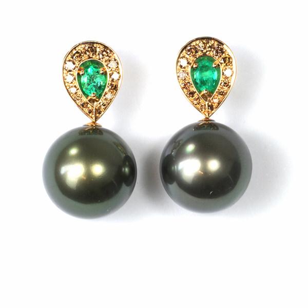 Ohrstecker Roségold Smaragd Tahitiperlen Brillanten (1005655.4)